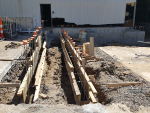 ADA ramp walls formed