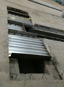 Paint booth ventilation pits ready for concrete