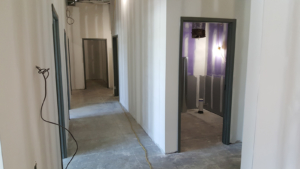 Hollow metal door frames installed